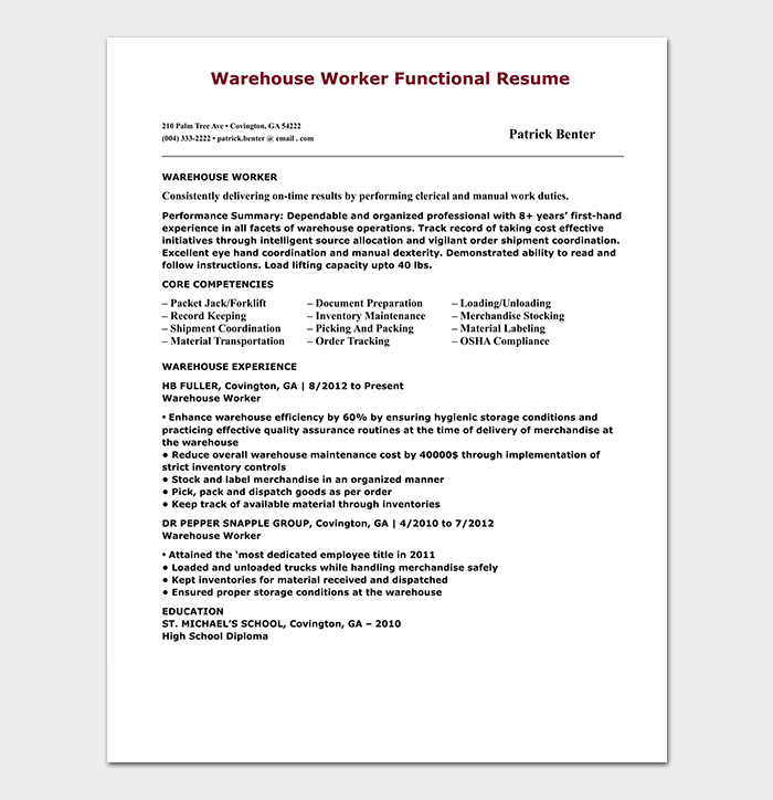 Warehouse Worker Functional Resume