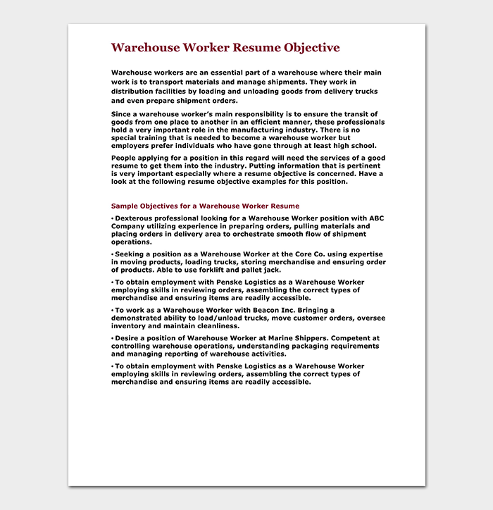 Warehouse Worker Resume Objective