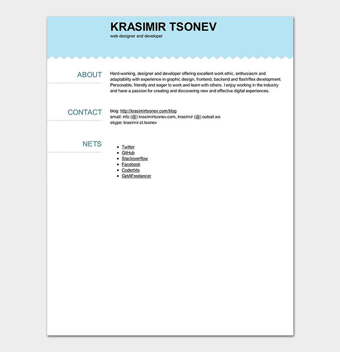 Web Developer Resume PDF
