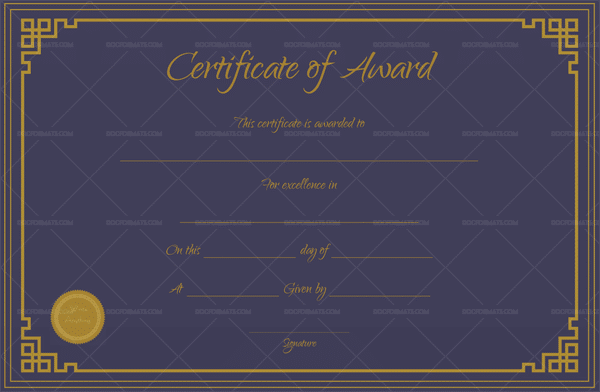 Award Certificate (Royal Blue)