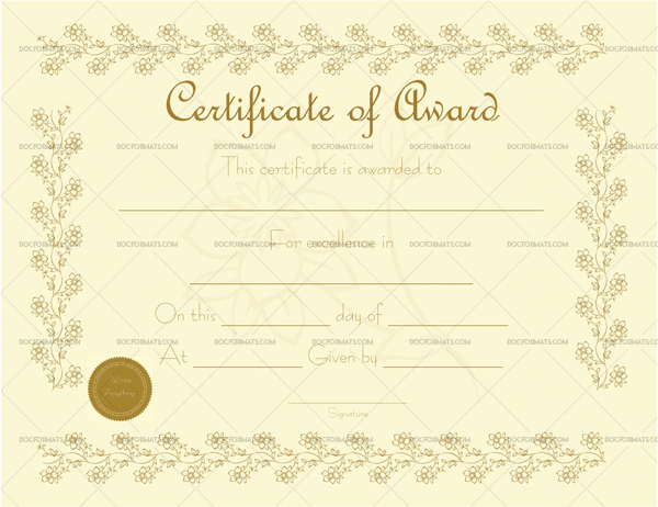 Award Certificate Template (For Word)