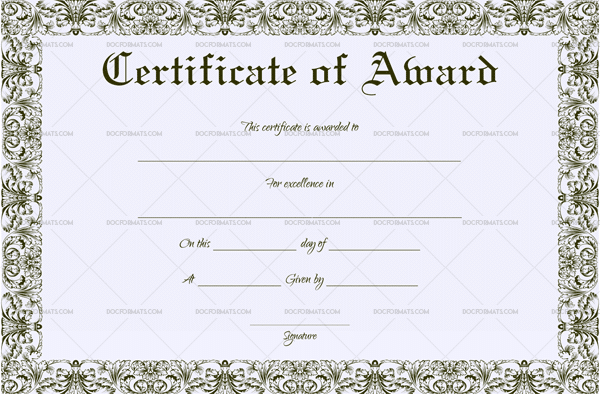 Certificate of Achievement (Word, PDF) (Preview)