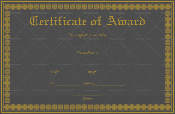 Formal Award Certificate (Royal Black) Preview