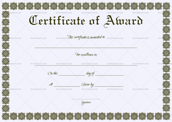 Formal Award Certificate (Sky Blue)