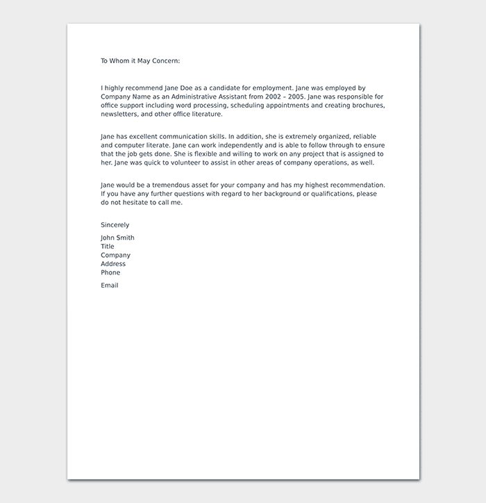 Letter Of Recommendation For Administrative Assistant from images.docformats.com