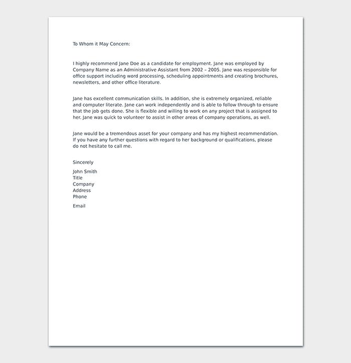 Formal Reference Letter Format