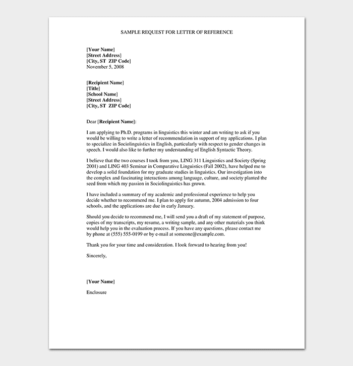 Formal Reference Letter  Format  U0026 6  Sample Letters