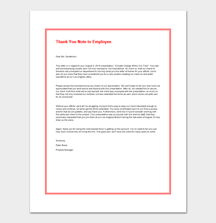 Thank You Note to Employee
